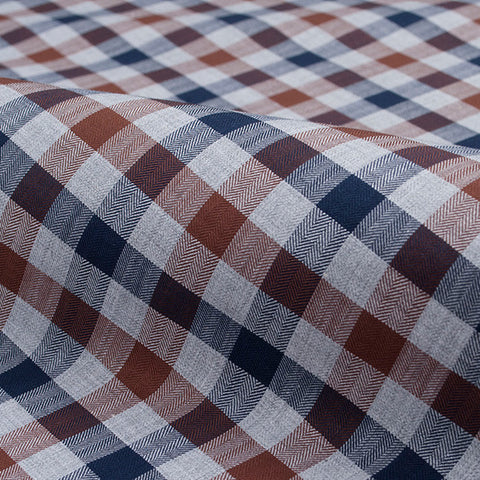 Grey, Navy and Brown Melange Flannel