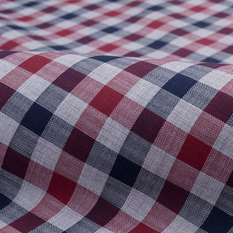 Grey, Navy and Red Melange Flannel