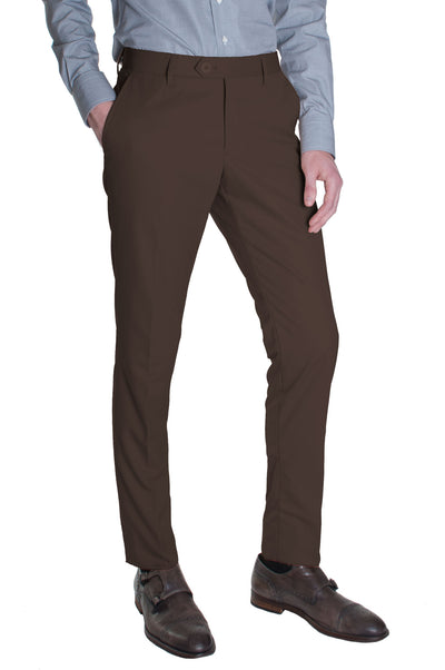 Chocolate Brown Cotton Dress Pants
