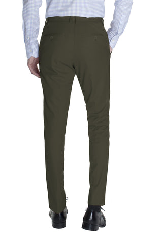 Olive Green Cotton Dress Pants