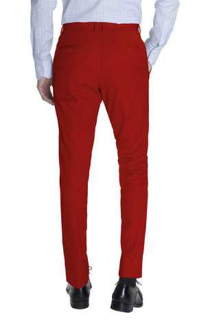 Red Cotton Dress Pants