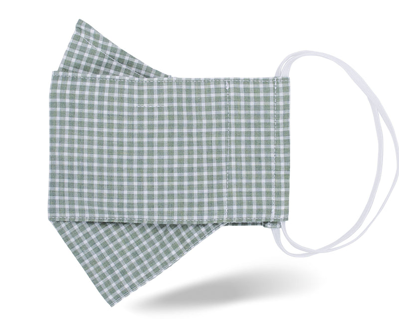 Sage Green Check 3D Mask