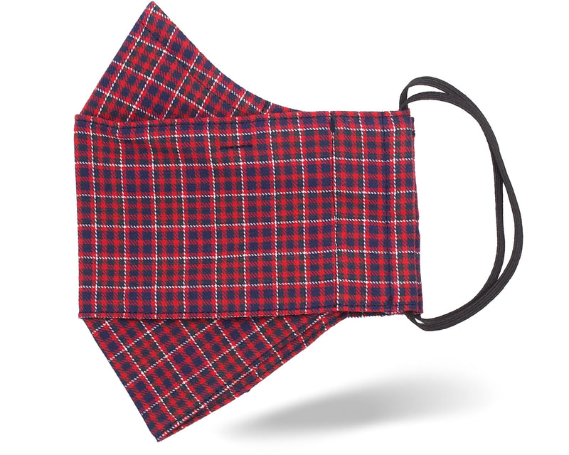 Red Festive Plaid 3D Mask