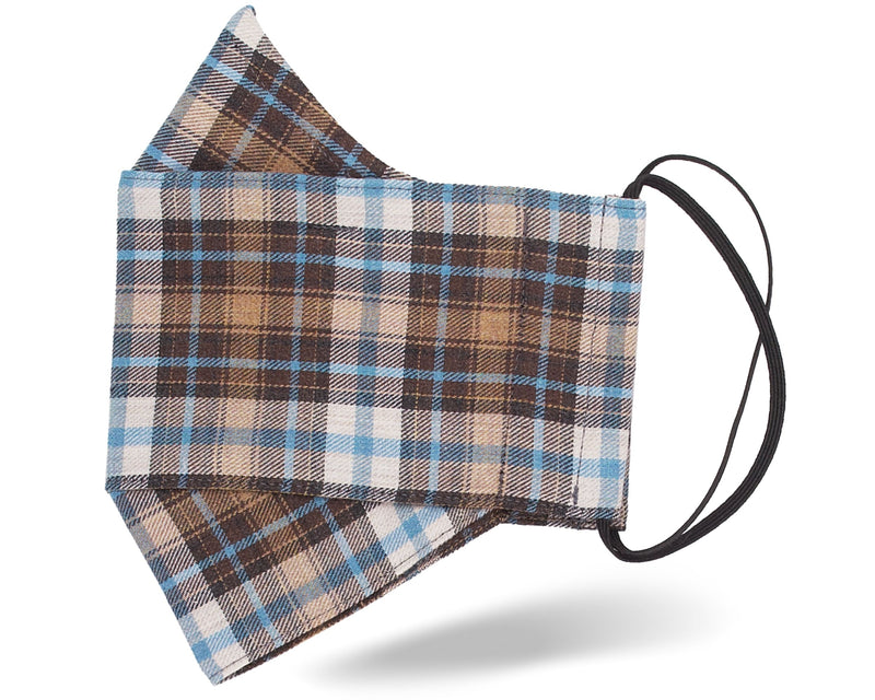 Brown & Blue Tartan 3D Mask