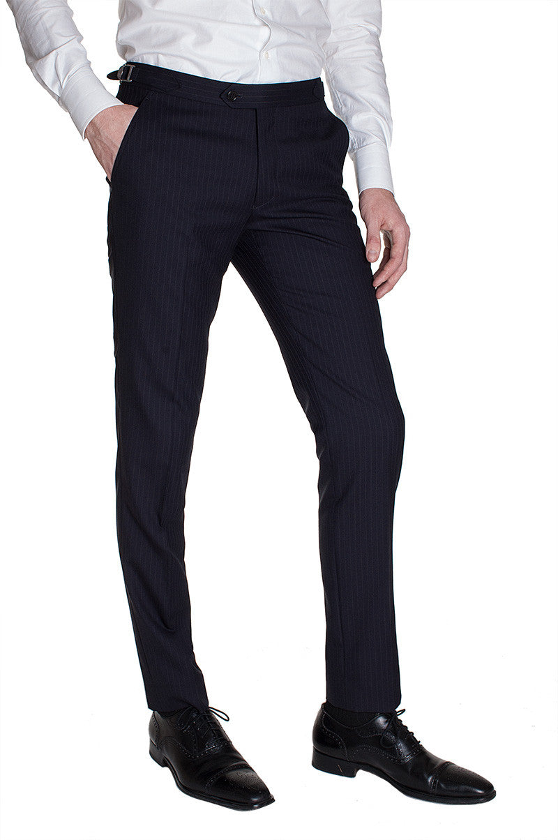 Navy with Gray Stripe Wool Pants