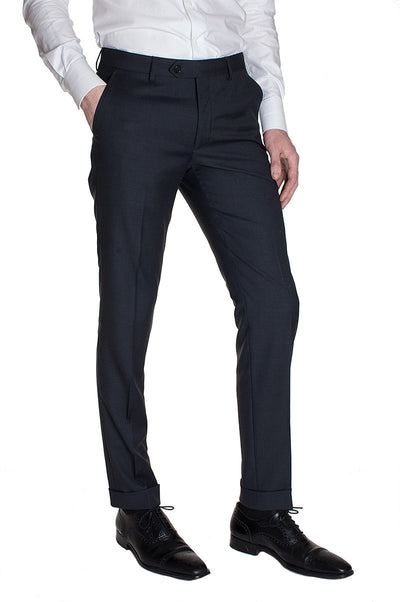 Charcoal Plain Wool Pants