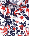 Navy and Red Bamboo Print