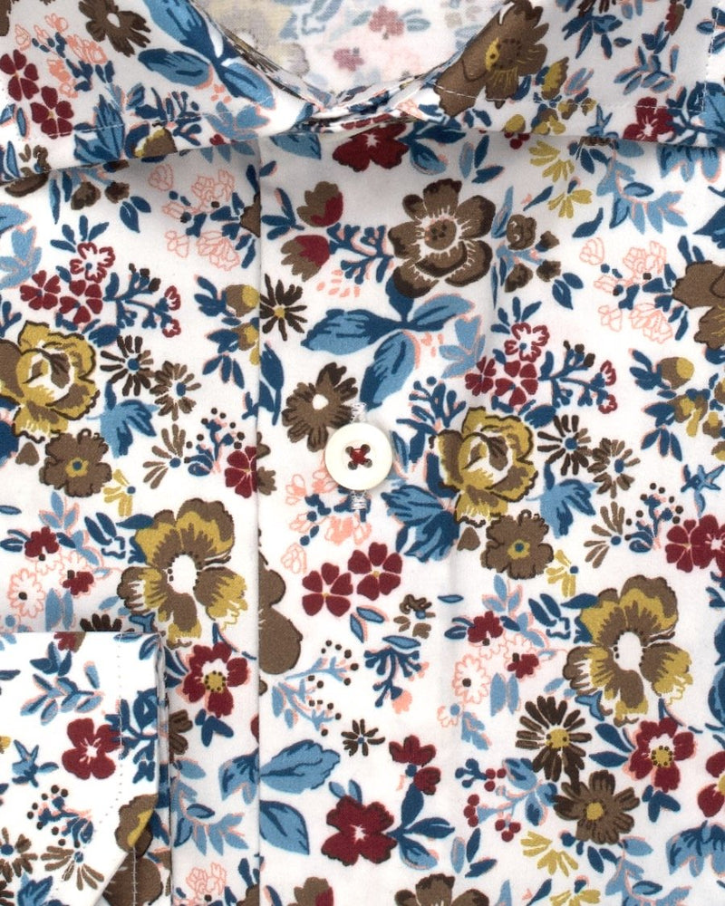 Brown & Blue Floral Print