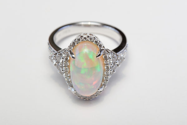 Jye's Custom Designed Ethiopian Opal and Diamond Ring