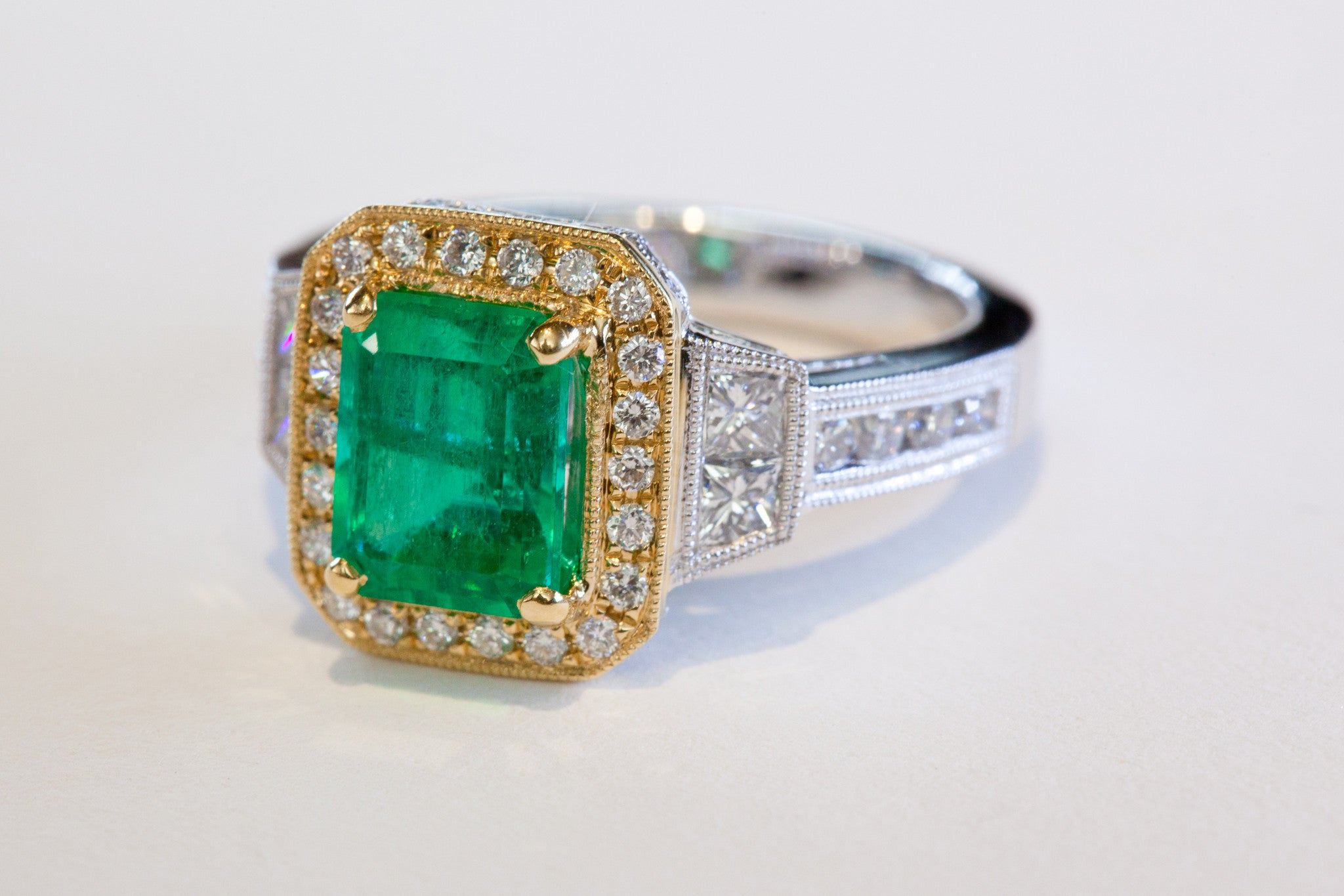 Angle 2 Carat Emerald ring with diamond accents