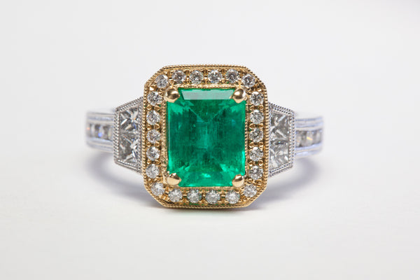 Top view 2 Carat Emerald ring with diamond accents