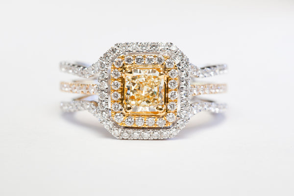Fancy Yellow Diamond Double Halo Ring