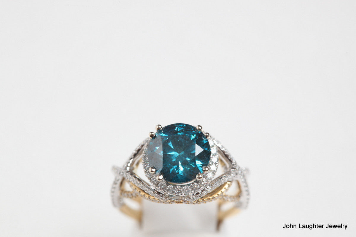 top view 3.92 Carat Blue Diamond Ring