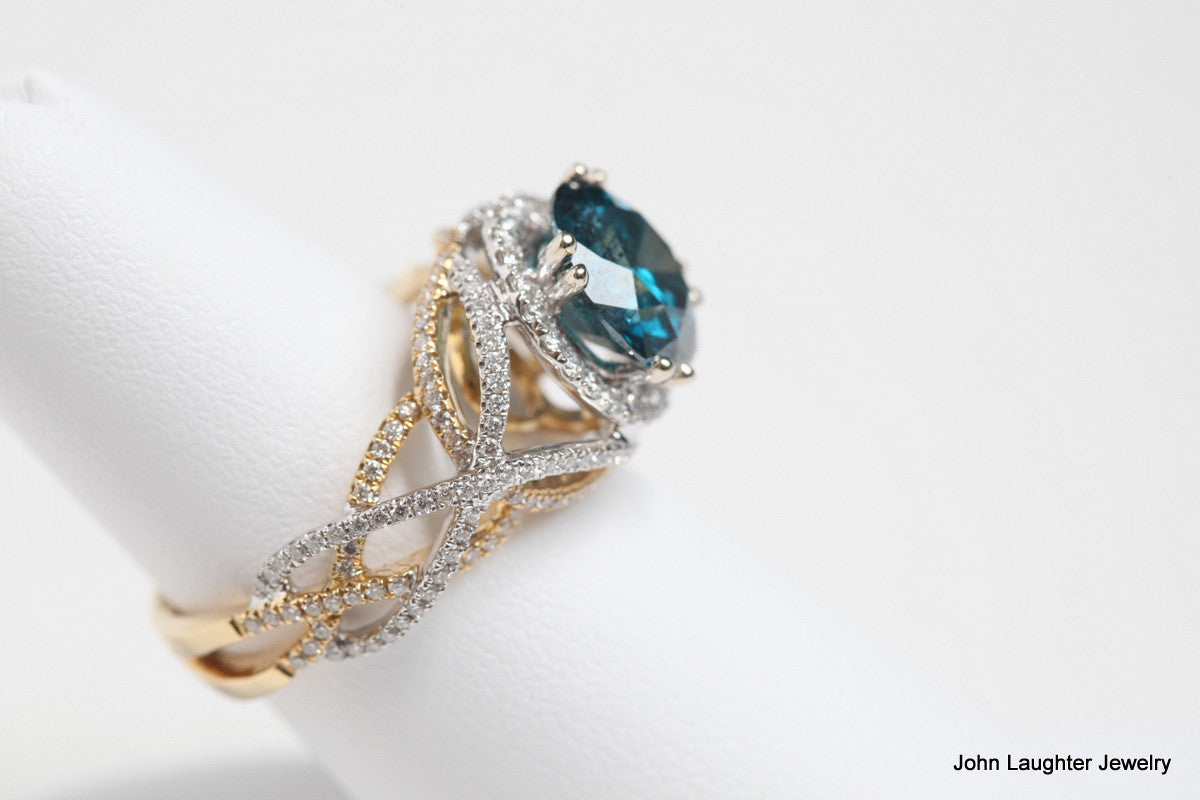 Side View 3.92 Carat Blue Diamond Ring