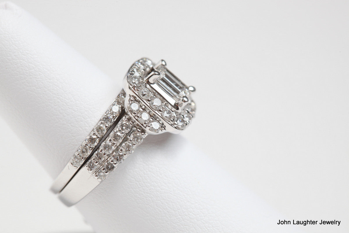 Side View 2 Carat Emerald Cut Diamond Halo Set