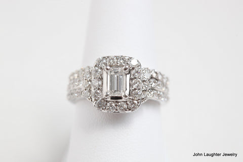 2 Carat Emerald Cut Diamond Halo Engagement Set
