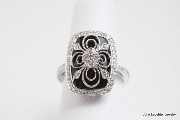 Onyx and Diamond Vintage Design Ring