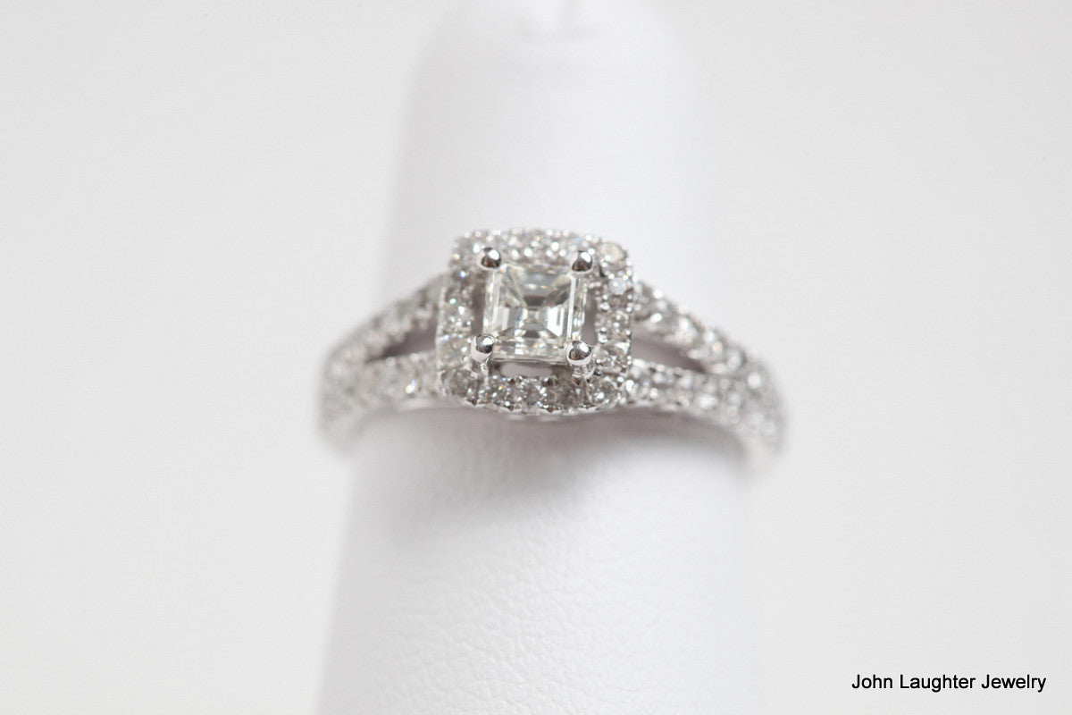 Top View .88 Carat Diamond Halo Engagement ring