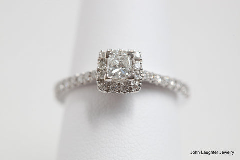 .66 Carat Diamond Halo Engagement Ring in Princess Cut