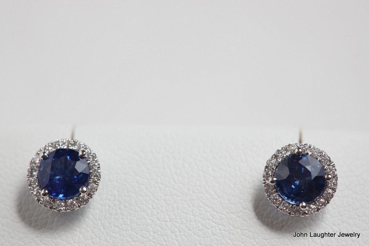 Sapphire Earrings with Diamond Halo
