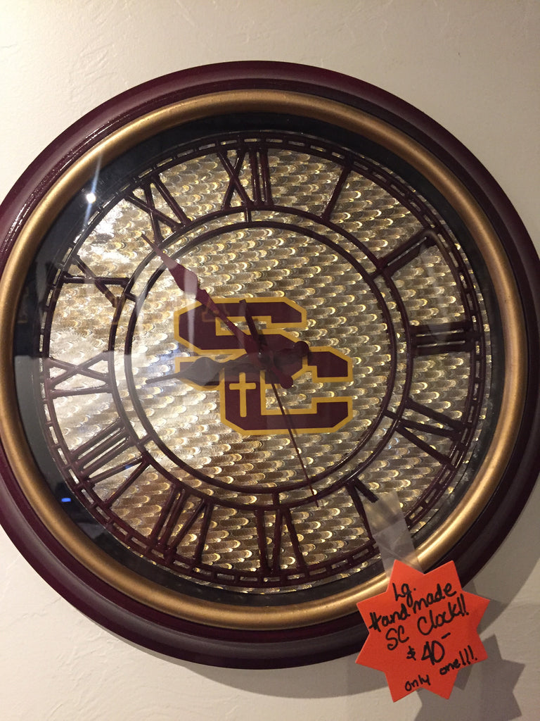 Large Handmade Clock with Roman Numerals