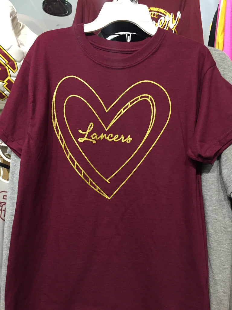 Maroon youth glitter heart Lancers tee