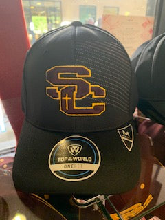 Top of the World Black SC Hat with lines memory fit