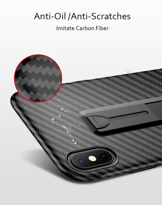 For iPhone Xs Max Xr X 8 7 Plus 6 6S Case Carbon Fiber Finger Stand Ring Holder Cover For Samsung Note 9 Note 8 S9 S8 Plus Cases