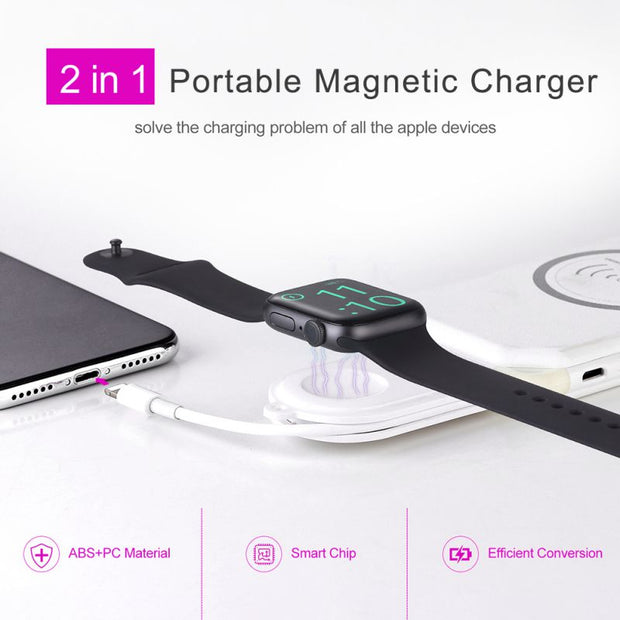 2-in-1 New Magnetic Portable USB Wireless Charger