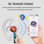 TWS Wireless Bluetooth Earphone Painted Colorful Pattern Sport Headsets with Charging Box