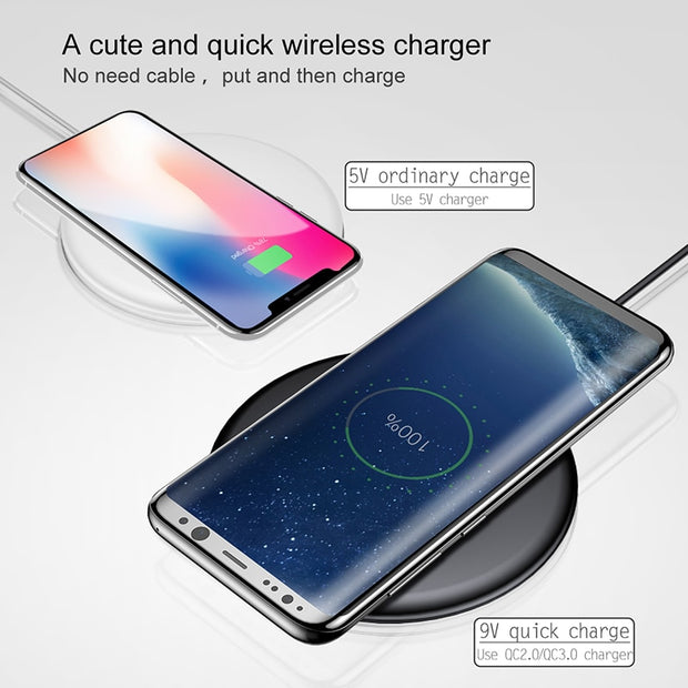 Baseus 10w Quick Charge Qi Wireless Charger For iPhone Xs Max X 8 Samsung S10 S9 Xiaomi Mi 9 Mix 3 2s Fast Wireless Charger Pad