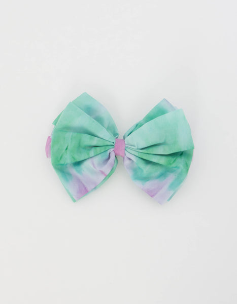 Tie Dye Bow Barrette in Purple