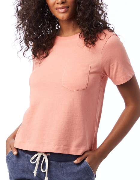 Heavy Wash Cropped Pocket Tee in Sunset Coral