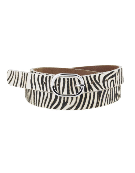 Zebra Print Belt in Tan