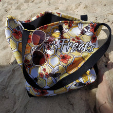 Load image into Gallery viewer, BEACH BAG, PRINTED SHOPPING BAG WITH BEES AND FLOWERS - Mrs Freaks