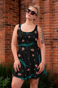 BLACK SKATER DRESS PRINTED FLORAL, LEAFS AND WHITE DOTS - Mrs.Freaks