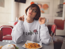 Load image into Gallery viewer, UNISEX AESTHETIC SWEATSHIRT WHITE GREY OR RED  FORGIVE - Mrs Freaks