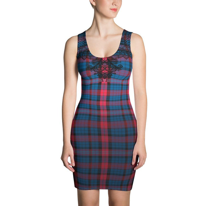 BLUE AND BURGUNDY TARTAN AND BLACK LACE PRINTED DRESS - Mrs Freaks