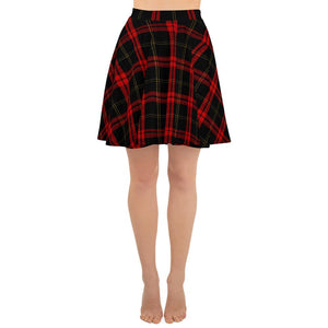 SKATER SKIRT BLACK AND RED TARTAN PRINTED - Mrs Freaks