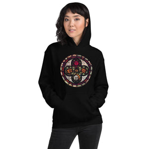 BLACK HOODIE UNISEX PRINTED ASTRONOMICAL STAINED GLASS - Mrs Freaks
