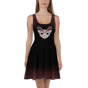COSMIC CAT PRINTED DARK SKATER DRESS - Mrs Freaks