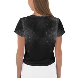 STAR SKY, EGYPTIAN CAT, MOON AND PYRAMIDS BLACK CROP-TOP - Mrs Freaks