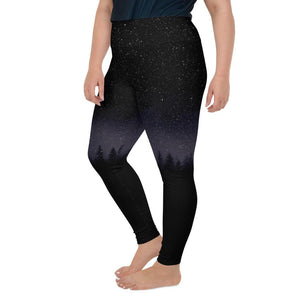 LEGGINGS PRINTED STAR NIGHT AND FIR TREES PLUS SIZE - Mrs Freaks