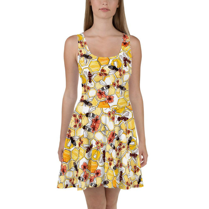 YELLOW SKATER DRESS WITH HONEYCOMB PATTERN BEES AND RED FLOWERS - Mrs Freaks