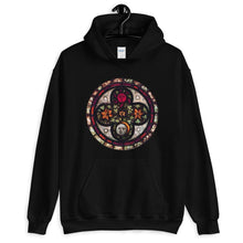 Load image into Gallery viewer, BLACK HOODIE UNISEX PRINTED ASTRONOMICAL STAINED GLASS - Mrs Freaks