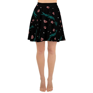 BLACK SKATER SKIRT LEAF ROSES PRINTED AND POLKA DOTS - Mrs Freaks