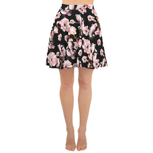 PINK POETRY SAKURA FLOWERS AND PARROTS SKATER SKIRT - Mrs.Freaks