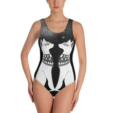 Load image into Gallery viewer, EGYPTIAN CATS AND MYSTIC STARRY SKY BLACK SWIMSUIT - Mrs Freaks