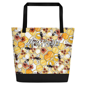 BEACH BAG, PRINTED SHOPPING BAG WITH BEES AND FLOWERS - Mrs.Freaks
