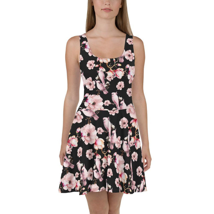PINK POETRY SAKURA FLOWERS AND PARROT SKATER DRESS - Mrs Freaks